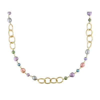 Miadora Brass Multicolored Cultured Pearl Brushed Link Necklace