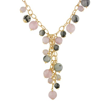 Amour Pink Plated Silver Rose and Black Rutilated Quartz Necklace