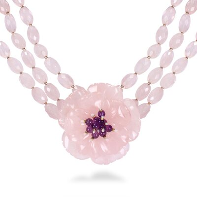 Amour Triple-Strand Rose Necklace