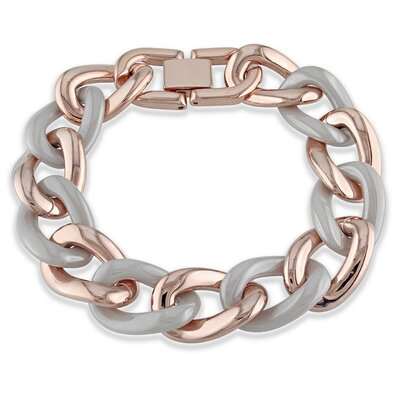 Pink Plated Stainless Steel Link Bracelet