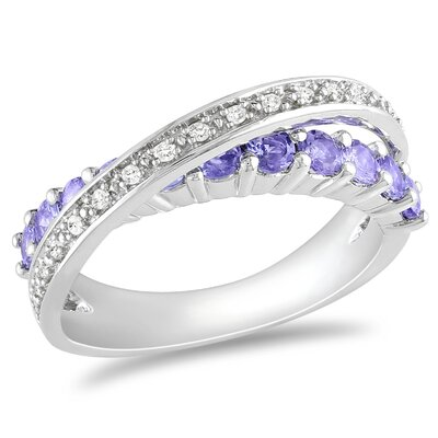 Amour Sterling Silver Diamond and Tanzanite Fashion Ring