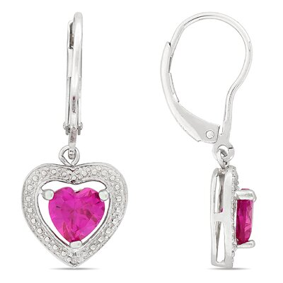 Amour Created Pink Sapphire Lever Back Earrings