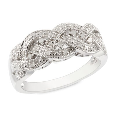 Amour Sterling Silver White Diamonds Fashion Ring