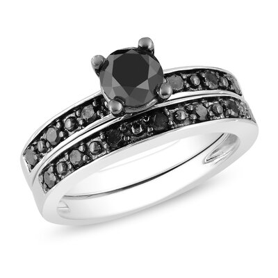 Sterling Silver Black Rhodium Plated Black Diamonds Bridal Set Ring