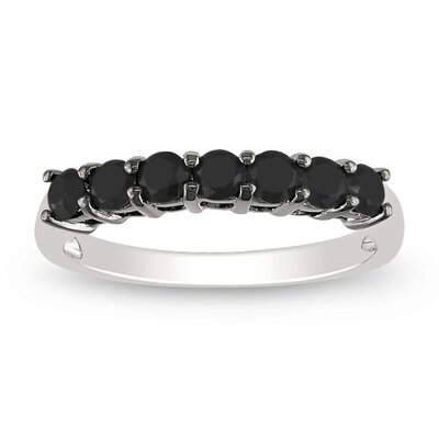 Sterling Silver Black Rhodium Plated Black Diamonds Fashion Ring