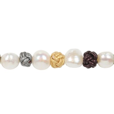 "Amour 8"" Cultured Pearls and Multi Color Leather Knots Necklace"