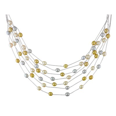 Amour Multi-Yellow Freshwater Rice Pearl Seven-Row Necklace
