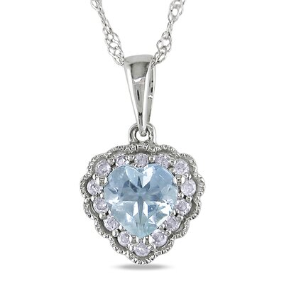 Amour Heart Cut and Round Cut Aquamarine Gemstone Tenth of a Carat Diamonds Pendant