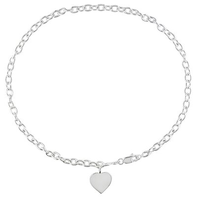 Amour Sterling Silver Heart Charm Necklace