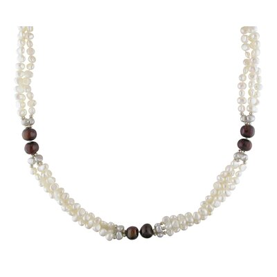 Metal Beads Goldtone Brown, White and Grey Freshwater Cultured Pearl Necklace