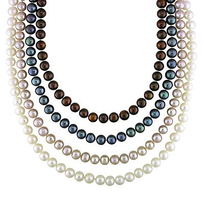 Sliver Fish Eye Clasp Freshwater Cultured Pearl Necklace