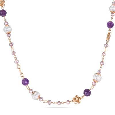 Amour  Sterling Silver Cable-chain Round Faceted-cut Amethyst Gemstones and Freshwater Cultured Pearls Flower Charm Necklace