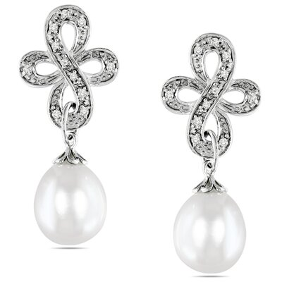 Amour Rice Shaped Cultured Pearl Ear Pin Earrings