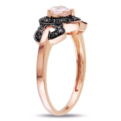 Amour Pink Gold Heart Shaped Morganite Multi Stone Ring