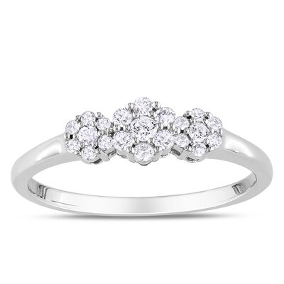 Amour Sterling Sliver Round Cut Diamond  Ring