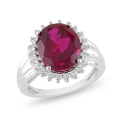Amour Sterling Silver Oval Cut Ruby Halo Ring