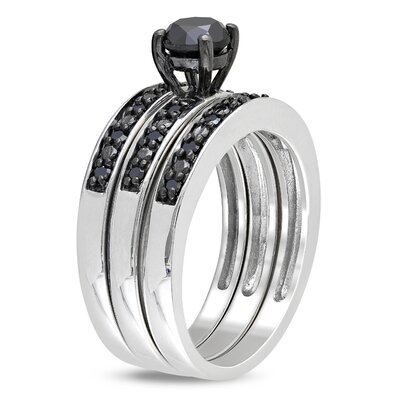 Amour Sterling Silver Round Cut Diamond Bridal Set Ring