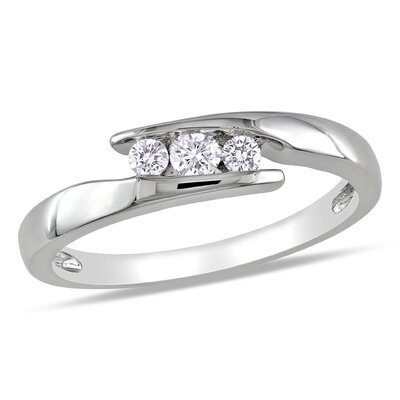 Amour Sterling Silver Round Cut Diamond Fashion Multi Stone Ring