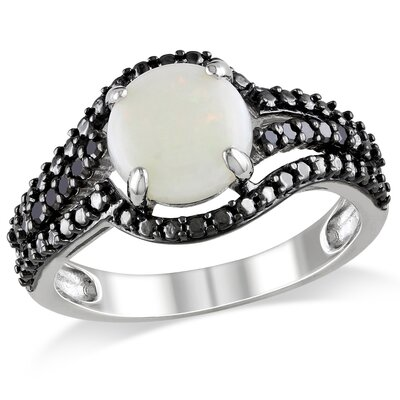 Sterling Silver Round Cut Opal Fashion Ring