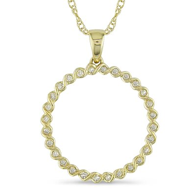 Yellow Gold Round Cut Diamond Pendant