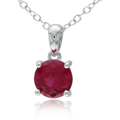 Amour Round Gemstone Solitaire Pendant with Chain