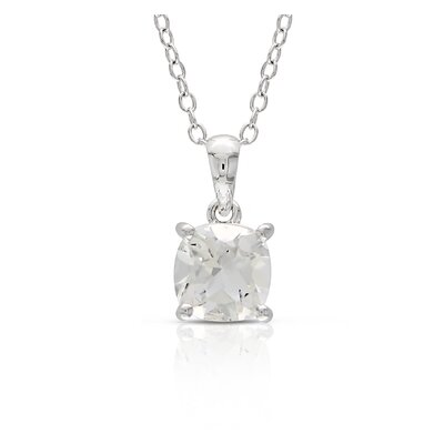 Amour Cushion Gemstone Solitaire Pendant with Chain