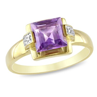 10K Yellow Gold Princess Cut Amethyst Ring
