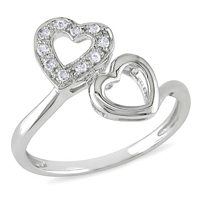 Amour 10K White Gold Round Cut Diamond Ring