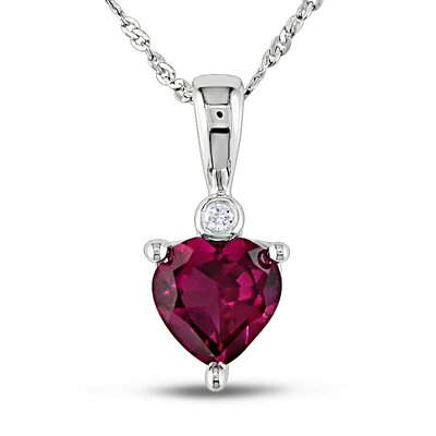 10K White Gold Heart Ruby Pendant