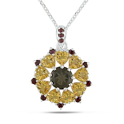 Amour Sterling Silver Sunburst Gemstone Pendant