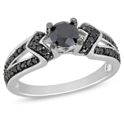 Sterling Silver Round Cut Diamond TW Engagement Ring
