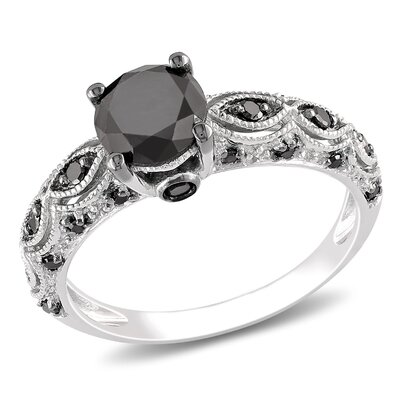 10k White Gold Round Cut Diamond TW Fashion Ring