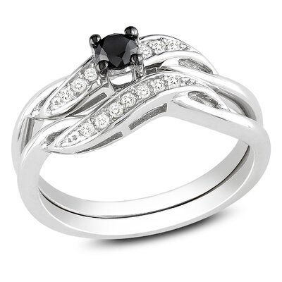 Sterling Silver Round Cut Diamond TW Bridal Set
