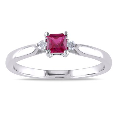 Sterling Silver Square Cut Gemstone Ring