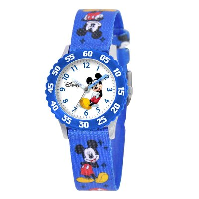 Kid's Mickey Mouse Time Teacher Watch in Printed Blue with Blue Bezel