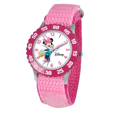 Disney Kid's Minnie Mouse Time Teacher Velcro Watch in Pink