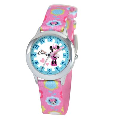 Disney Kid's Minnie Mouse Time Teacher Watch in Pink Nylon