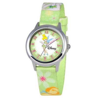 Disney Kid's Tinker Bell Time Teacher Printed Strap Watch in Green