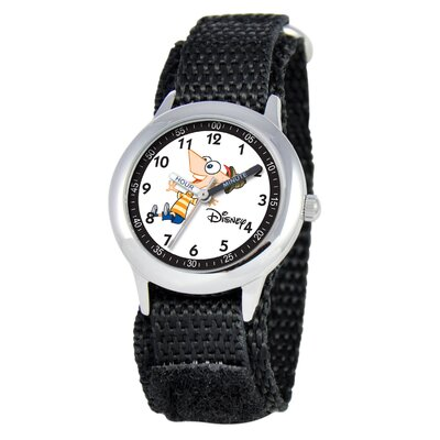 Kid's Phineas Time Teacher Velcro Watch in Black