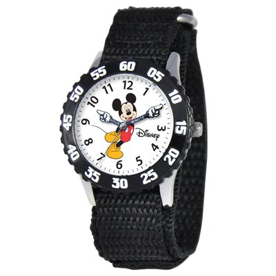 Disney Kid's Mickey Time Teacher Watch in Black with Black Bezel