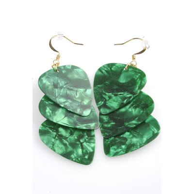 PickC Jewelry Guitar Pick Earrings in Green and Gold