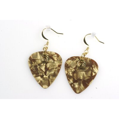 PickC Jewelry Guitar Pick Earrings with Gold Swirled Charm