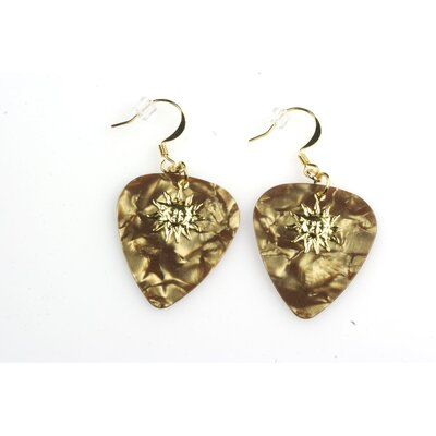 PickC Jewelry Guitar Pick Earrings with Golden Sun Charm