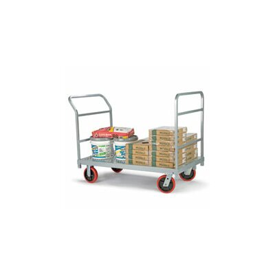 Raymond Products Heavy Duty Platform Truck, Quiet Poly Casters, All Swivel, 1 Push Handle and 1 End Handle
