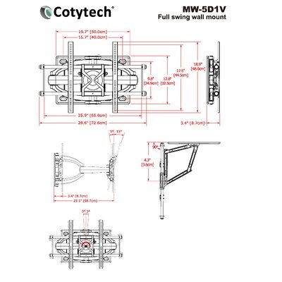 "Cotytech Full Motion Dual Arm TV Wall Mount for 42"" - 71"" Screens"