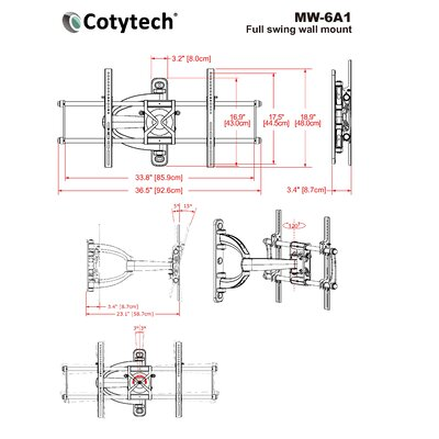 "Cotytech 800 x 400 Full Motion Corner TV Wall Mount for 32"" - 57"" Screens"