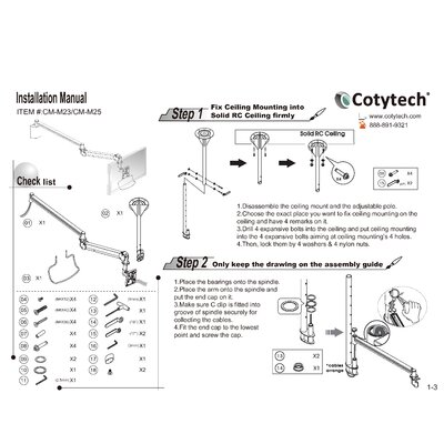 Cotytech Long Reach LCD Ceiling Mount (for flat panel 2.2 lbs to 13.2 lbs)