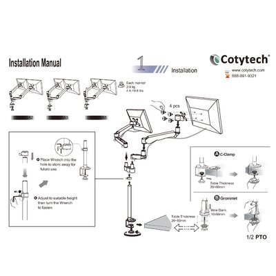Cotytech Dual Monitor Desk Mount Spring Arm Quick Connect