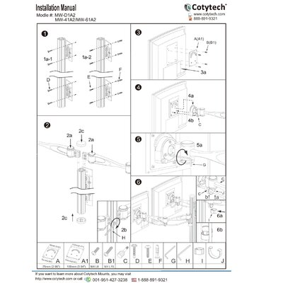 Cotytech Wall Mount for Two Monitors Long Pole Double Arm
