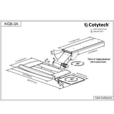 Cotytech Fully Adjustable Keyboard Mouse Tray with Coated Black